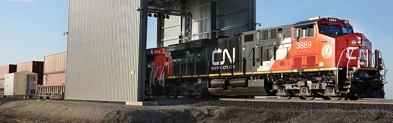 CN train passes through Duos' Railcar Inspection Portal